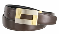 "1846 Reversible Leather Belt Clamp Buckle - 1 1/8"" wide Available up to size 54"""