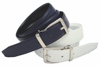 "4010 Men's Dress Leather Belt Reversible Clamp Buckle - 1 1/8"" wide"