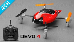 ExceedRC Ladybird V2 Devo 4 Ready to Fly RC Mini Quadcopter Drones 4 Channel (Red)