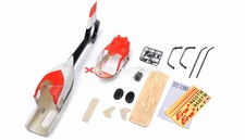 EC135 450 Pre-Painted Glass Fiber Fuselage for 450 size Helicopters w/ Magnets  (Red/Black/White) 85P-135-N413-RedBlackWhite