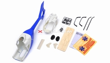 EC135 450 Pre-Painted Glass Fiber Fuselage for 450 size Helicopters w/ Magnets (Blue/White) 85P-135-N412-BlueWhite