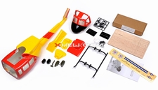 U1 450 Pre-Painted Glass Fiber Fuselage for 450 size Helicopters w/ Tail Extension & Magnets (Red/Yellow) 85P-U1-N401-RedYellow