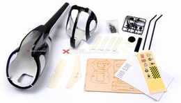 MD530 450 Pre-Painted Glass Fiber Fuselage for 450 size Helicopters w/ Magnets (Black) 85P-530-N411-Black