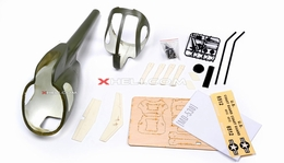 MD530 450 Pre-Painted Glass Fiber Fuselage for 450 size Helicopters w/ Magnets (Green) 85P-530-N414-Green