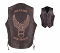 Milwaukee Leather Premium Naked Cowhide Leather Embossed Motorcycle Vest 46-10 from Motobuys.com