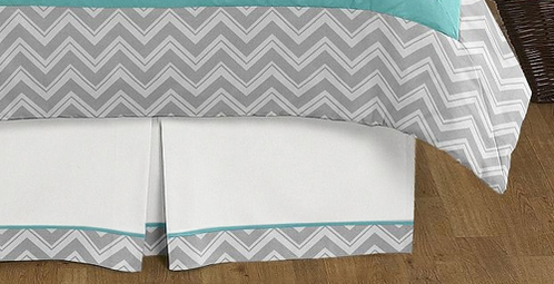 turquoise and gray chevron zig zag queen bed skirt for childrens teens bedding sets by sweet. Black Bedroom Furniture Sets. Home Design Ideas
