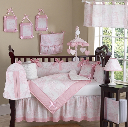 Pink and White French Toile Baby Bedding - 9 pc Crib Set - Click to enlarge