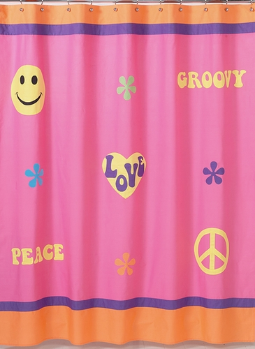 Pink Groovy Peace Sign Kids Bathroom Fabric Bath Shower Curtain Only