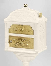 Gaines Classic Victorian Locking Mailbox Almond with Polished Brass
