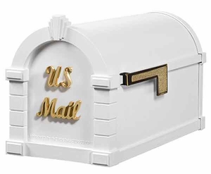 Keystone Mailbox Signature Series White w/Polished Brass