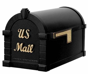 Keystone Mailbox Signature Series Black w/Polished Brass