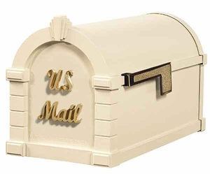 Keystone Mailbox Signature Series Almond w/Polished Brass