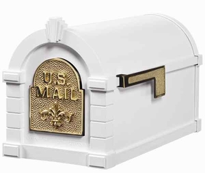 Keystone Mailbox White w/Polished Brass Fleur De Lis