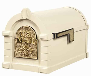 Keystone Mailbox Almond w/Polished Brass Fleur De Lis