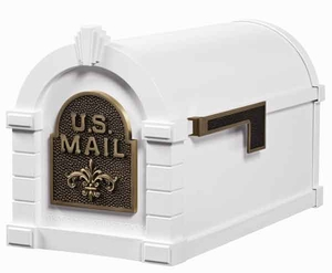 Keystone Mailbox White w/Antique Bronze Fleur De Lis