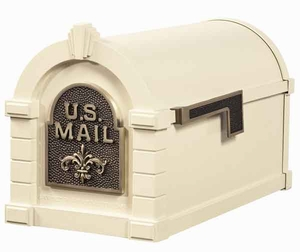 Keystone Mailbox Almond w/Antique Bronze Fleur De Lis