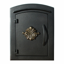 Manchester Black Column Mailbox Insert Decorative Scroll Door