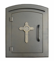 Manchester Bronze Column Mailbox Insert Cross Design Door