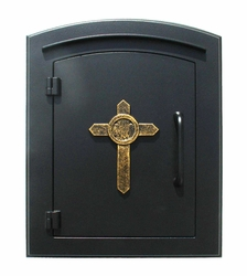 Manchester Black Column Mailbox Insert Cross Design Door