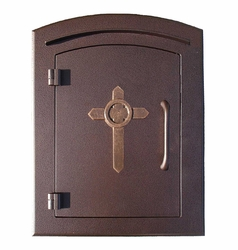 Manchester Antique Copper Column Mailbox Insert Cross Design Door