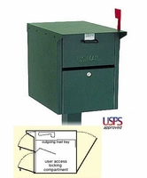 Large Front and Rear Opening Locking Mailbox and Post