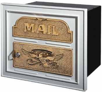 Gaines Classic Faceplate Column Insert Mailbox White w/Polished Brass