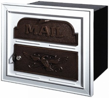 Gaines Classic Faceplate Column Insert Mailbox White w/Antique Bronze