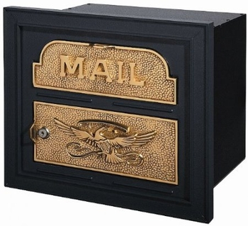 Gaines Classic Faceplate Column Insert Mailbox Black w/Polished Brass