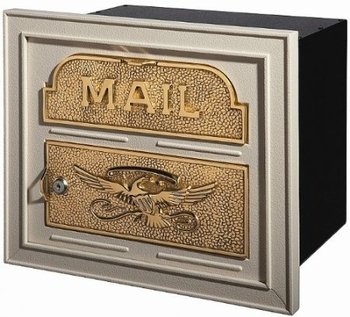 Gaines Classic Faceplate Column Insert Mailbox Almond w/Polished Brass