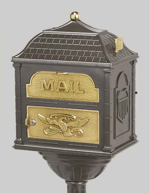 Gaines Classic Victorian Locking Mailbox Metallic Bronze with Polished Brass