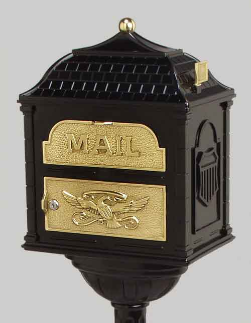 Gaines Classic Victorian Locking Mailbox Black with Polished Brass