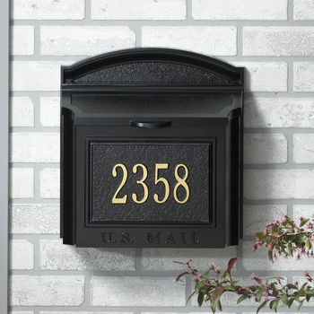Whitehall Wall Mount Mailbox with Plaque...Black