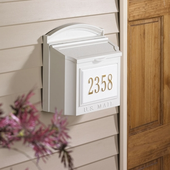 Whitehall Wall Mount Mailbox with Plaque...White