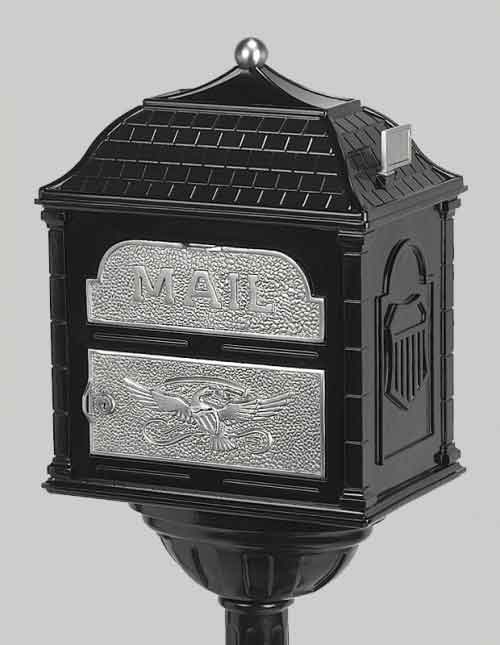 Gaines Classic Victorian Locking Mailbox Black with Satin Nickel