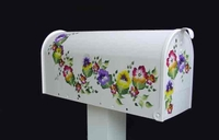 Purple Yellow Pansies Hand Painted Residential Mailbox