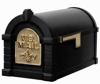Keystone Mailbox Black w/Polished Brass Fleur De Lis