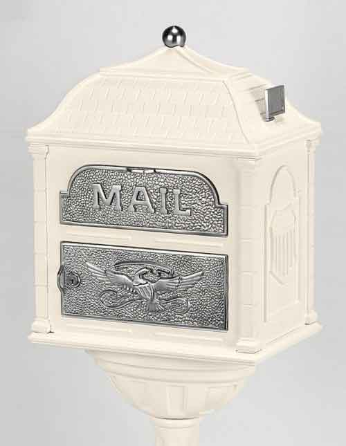 Gaines Classic Victorian Locking Mailbox Almond with Satin Nickel
