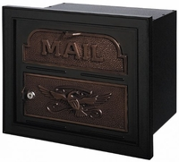 Gaines Classic Faceplate Column Insert Mailbox Black w/Antique Bronze