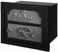 Gaines Classic Faceplate Column Insert Mailbox Black w/Satin Nickel