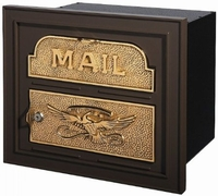 Gaines Classic Faceplate Column Insert Mailbox Bronze w/Polished Brass