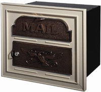 Gaines Classic Faceplate Column Insert Mailbox Almond w/Antique Bronze