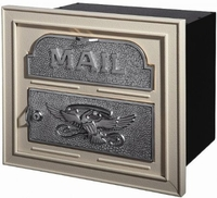 Gaines Classic Faceplate Column Insert Mailbox Almond w/Satin Nickel