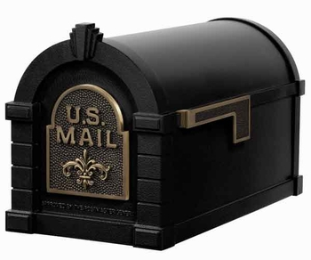 Keystone Mailbox Black w/Antique Bronze Fleur De Lis