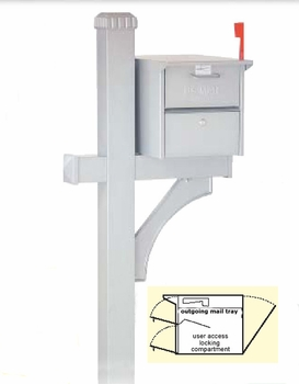 Roadside Front and Rear Opening Locking Mailbox with Deluxe Post