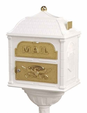 Gaines Classic Victorian Locking Mailbox White and Polished Brass