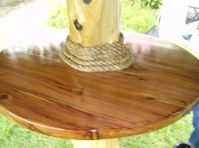 36 Inch Round Pinewood Table For Palapa Umbrellas