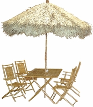 Bamboo Umbrella 6 Piece Table SET