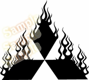 FLAME MITSUBISHI Vinyl Decal Car Performance Stickers