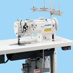 "Juki LU1560 Double Needle 1/4"" Gauge Walking Foot/Needle Feed Industrial Sewing Machine with Table Top and Motor"