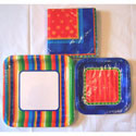 "Birthday Craze Colorful Striped Paper Party 7"" Plates 8ct."